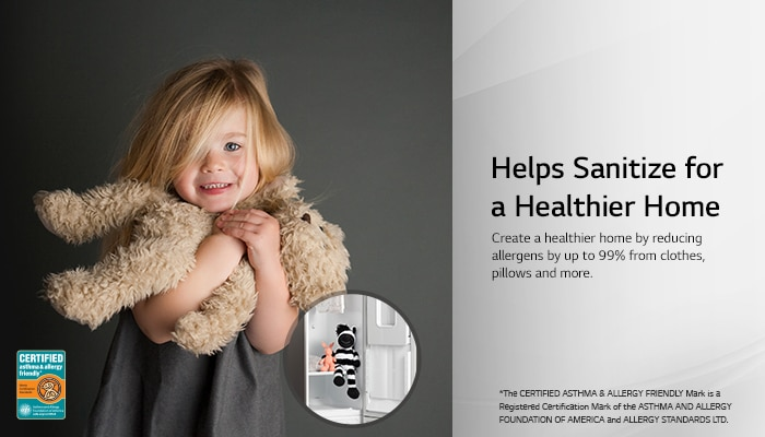 Santizes clothing. Reduces allergens by 99%. Certified by AAFA.