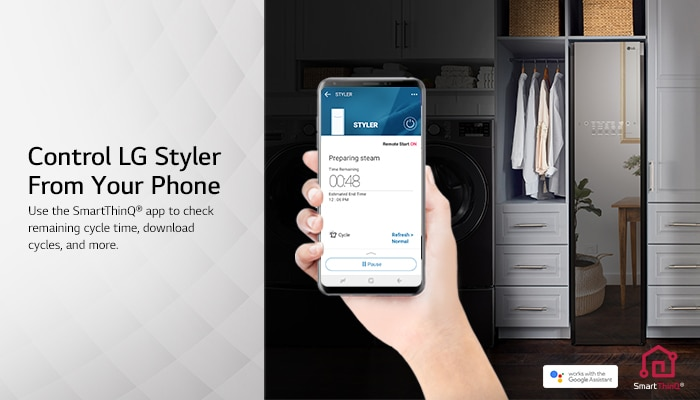 Smart Steam Closet uses LG Thinq app to check cycle time.