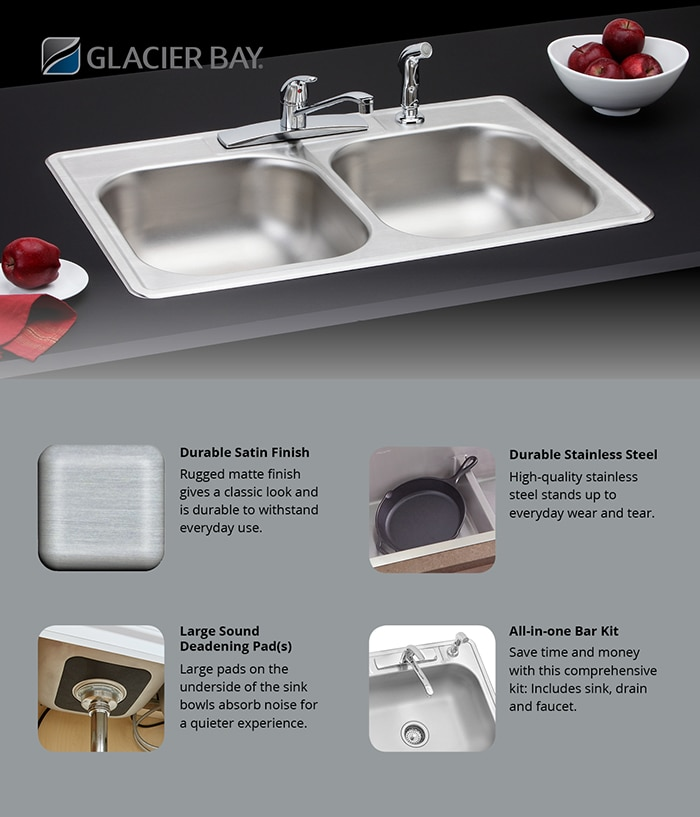 Elkay All in One Top Mount Stainless Steel Double Bowl