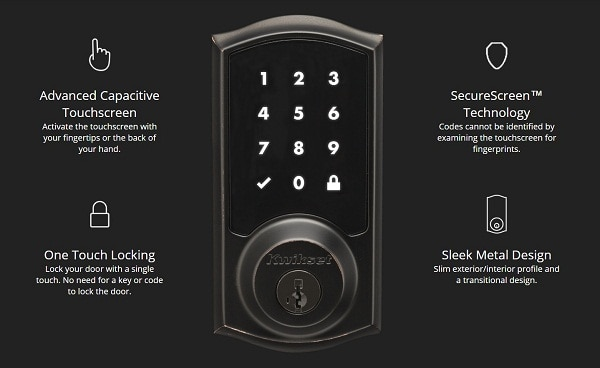 SmartCode 915 Touchscreen Single Cylinder Tuscan Bronze UL-Rated Electronic Deadbolt Featuring SmartKey