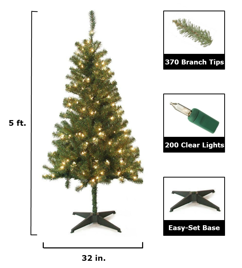 artificial Christmas tree size chart and features